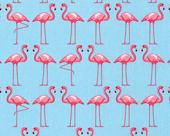 Dancing Flamingos- Powder Blue Fabric