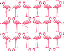Dancing Flamingos- White Fabric