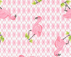 Diamond Flamingos Pink  Fabric
