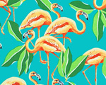 Elegant Flamingos Fabric - Coral