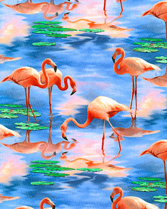 Flamingo Reflections  Fabric