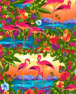 Flamingo sunsets  Fabric