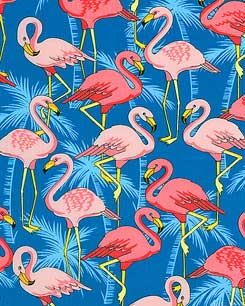 Flamingo Yard Ornaments - Marine Blue Fabric