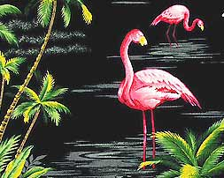 Flamingos and Tropical Palms Fabric