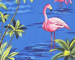 Flamingos and Tropical Palms  Fabric- Blue