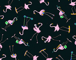 Fancy Flamingos  Fabric- Blue