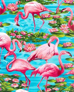 Flamingos in Lily Ponds Fabric