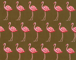 Strutting Flamingos- Chocolate Fabric