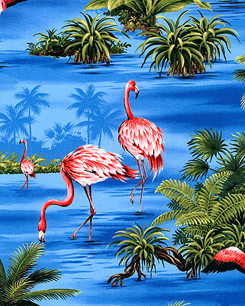 Tropical Flamingos Royal  Blue Fabric