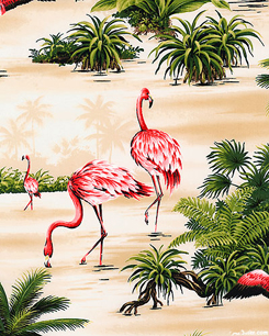 Tropical Flamingos Vanilla Cream Fabric